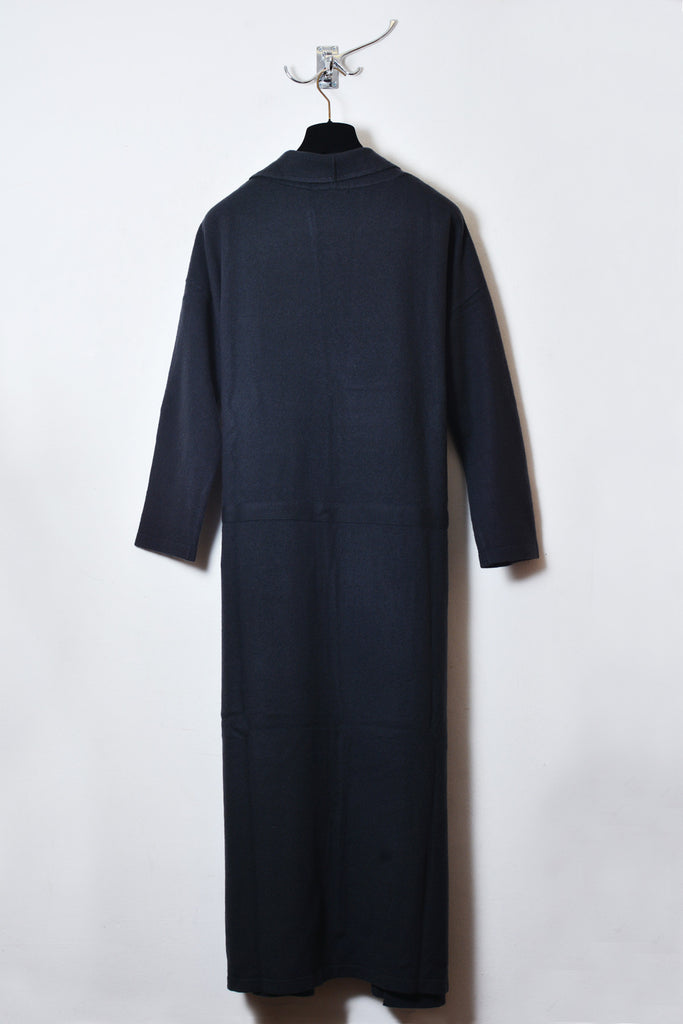 UNCONDITIONAL Dark grey boiled wool long belted robe cardigan.