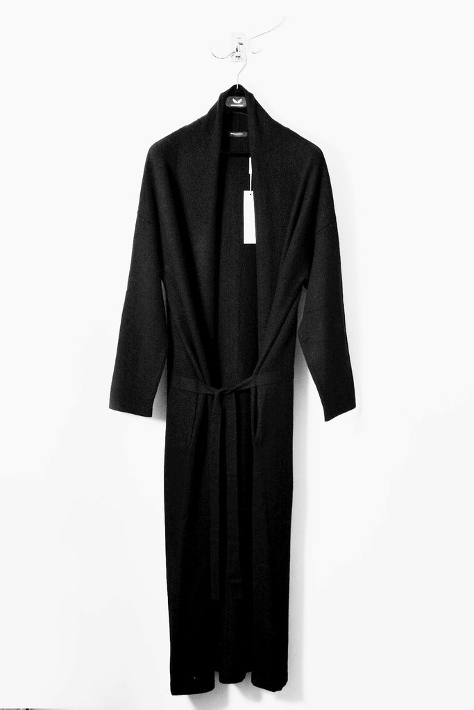 UNCONDITIONAL AW17 Jet Black boiled merino wool long belted robe cardigan.