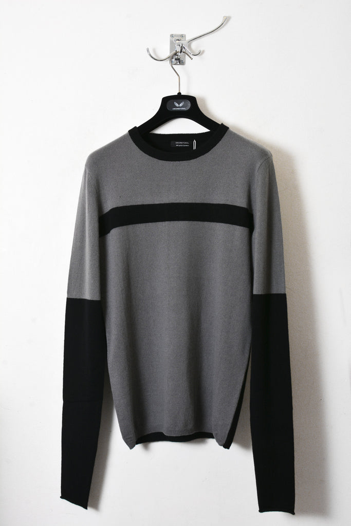 UNCONDITIONAL Dark grey and Black Grade A cashmere jumper with bondage chest stripe