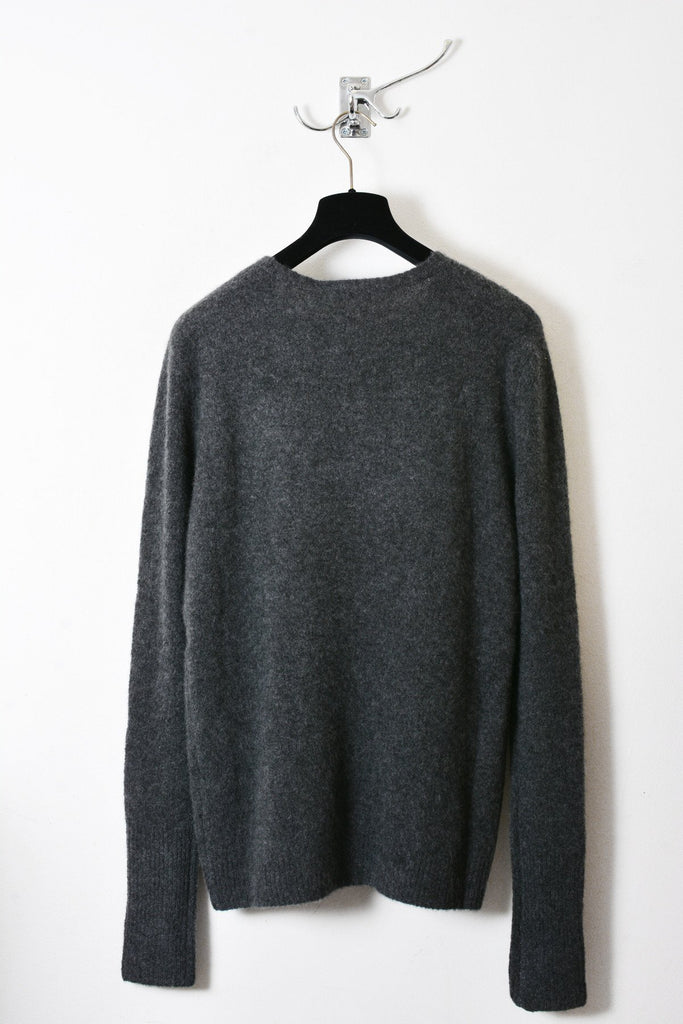 UNCONDITIONAL charcoal cashmere felt crew long sleeved neck jumper.