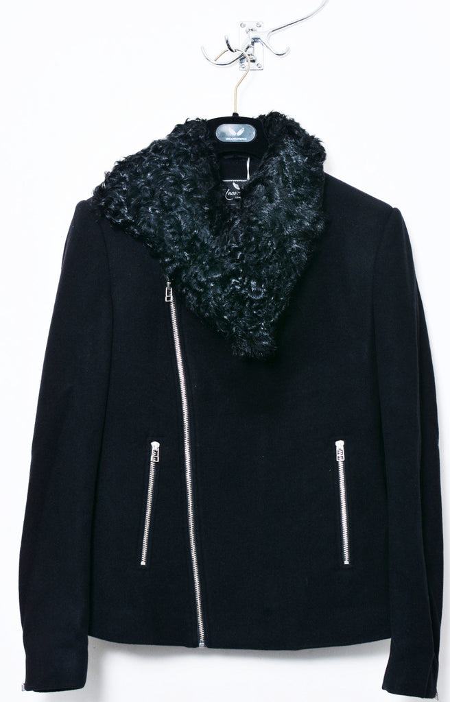 UNCONDITIONAL Black asymmetric zip up short coat with Australian Gotland sheepskin collar.
