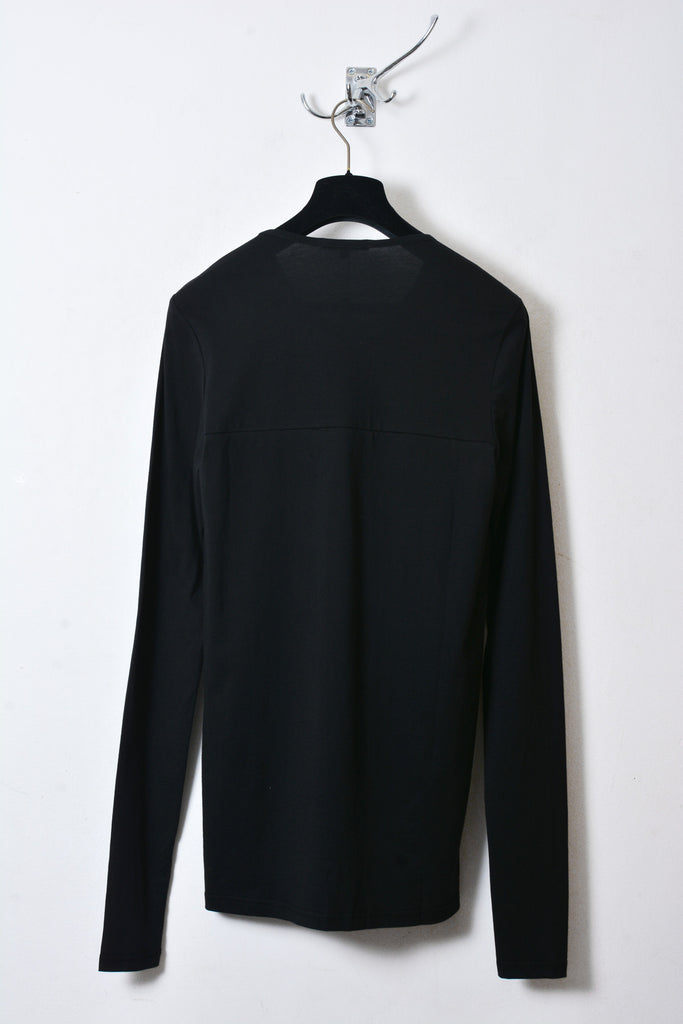 UNCONDITIONAL black and metallic blue long sleeve T with inserted chest fin.