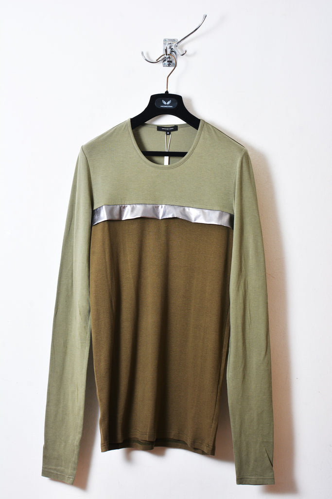 UNCONDITIONAL light army and dark military long sleeved t with a dark silver chest fin.