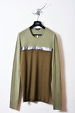 UNCONDITIONAL light army and dark military long sleeved tee with an inserted dark silver chest fin.