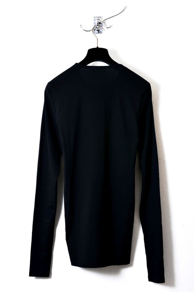 UNCONDITIONAL Black long sleeved crew neck T-shirt with zip bib detailing.