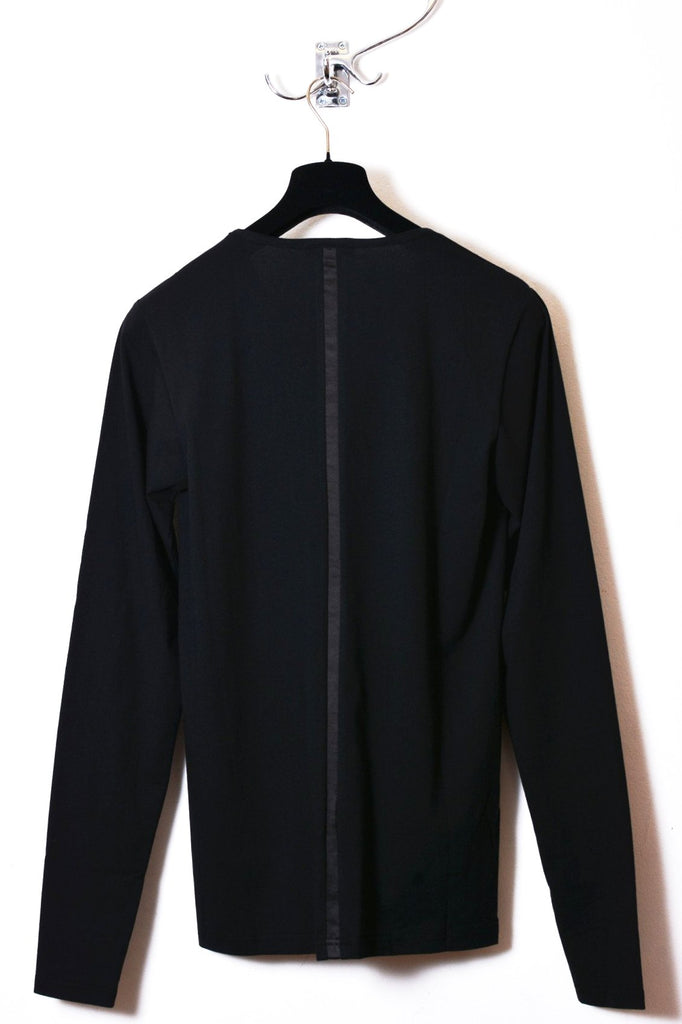 UNCONDITIONAL All Black long sleeve fine cotton T with silk stripe to front and back.