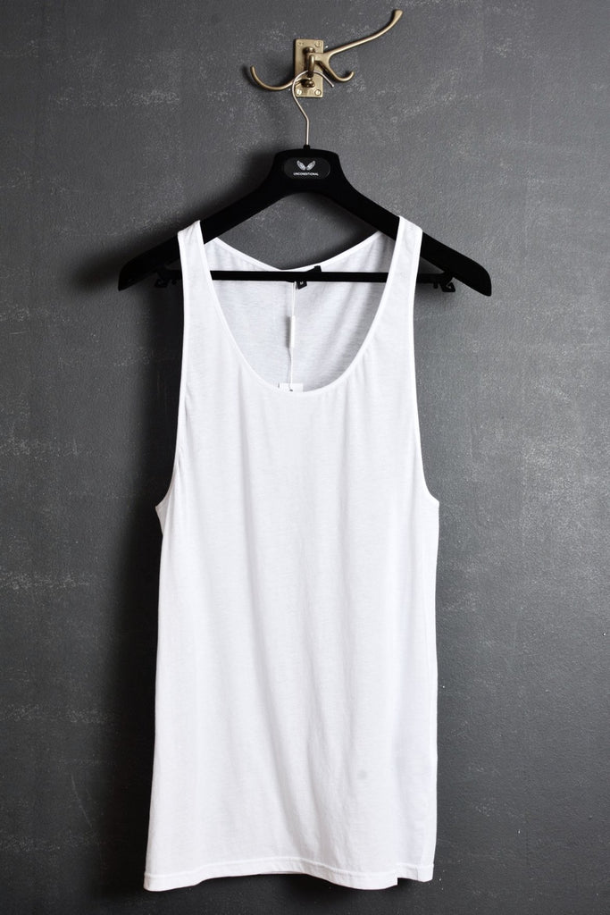 UNCONDITIONAL SS16 white longer fine jersey vest.