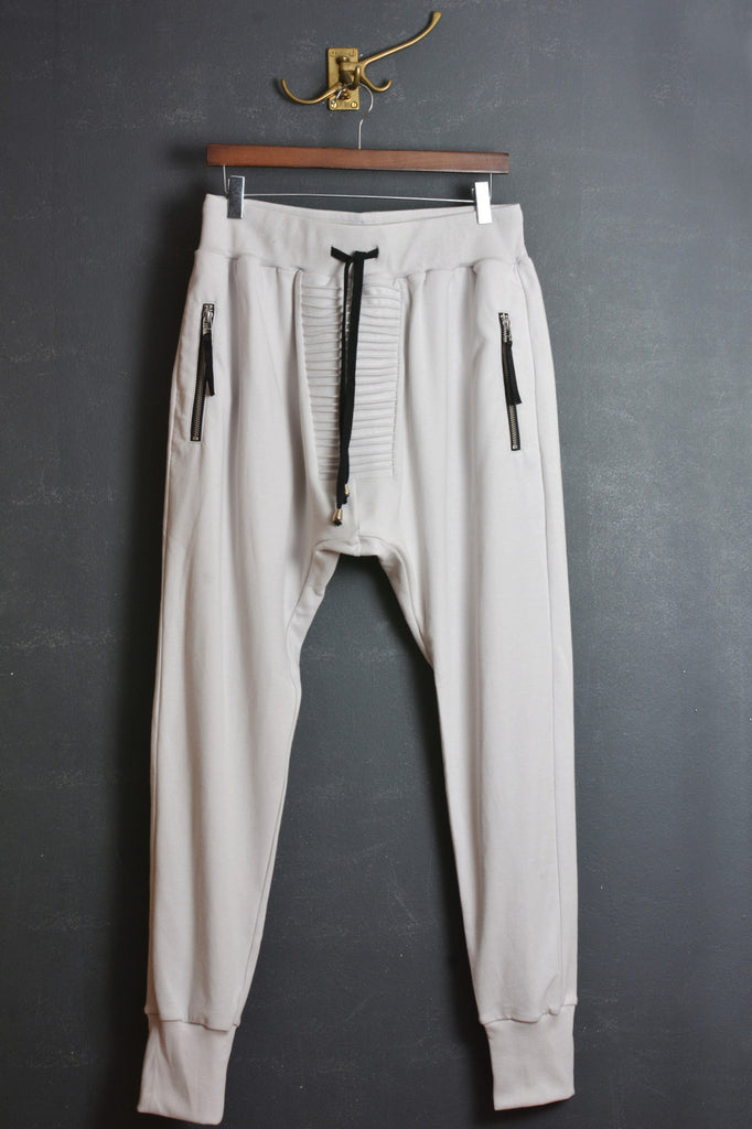 UNCONDITIONAL Dirty White slim heavy cotton jersey trouser with crotch piping detail.