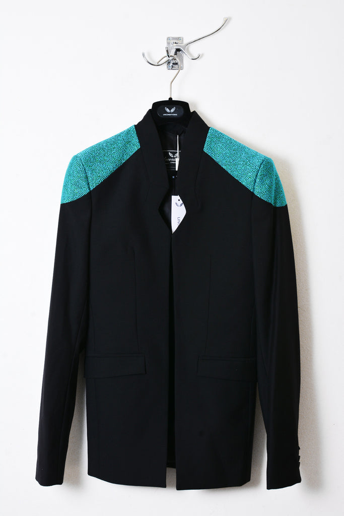 UNCONDITIONAL black and aqua disco boucle cutaway jacket with contrast shoulders.