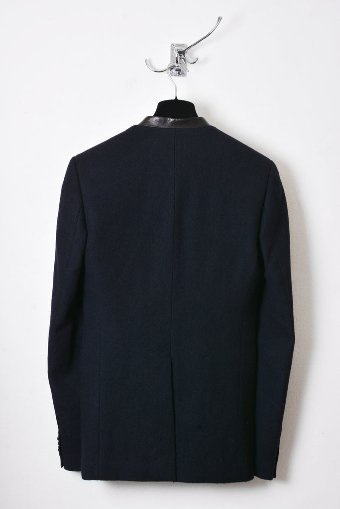 UNCONDITIONAL AW16 French Navy gabardine cutaway tailored blazer with paper leather collar..
