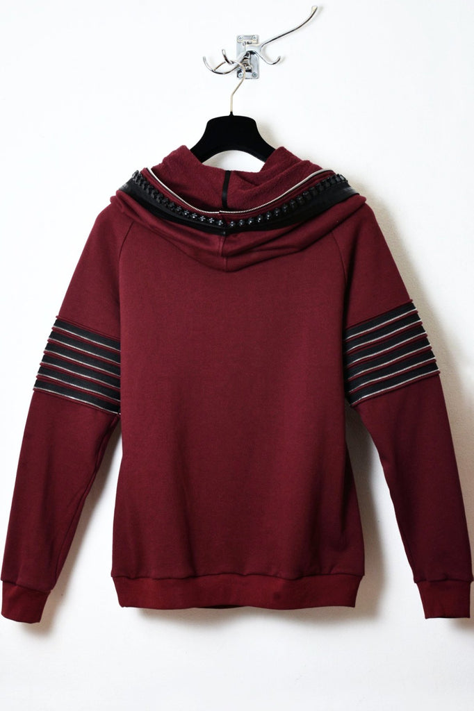 UNCONDITIONAL  Loganberry funnel neck hoodie with contrast heavy neck and arm zip details.