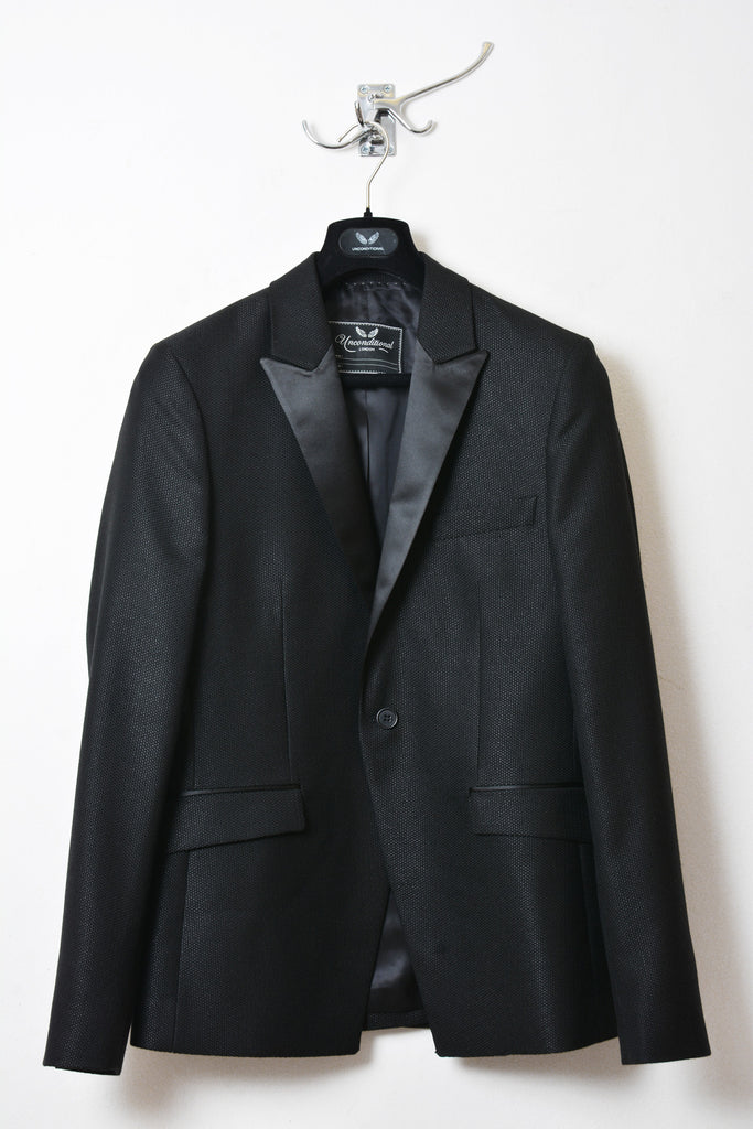 UNCONDITIONAL AW16 Black Basketweave one button Tuxedo jacket with satin reveres