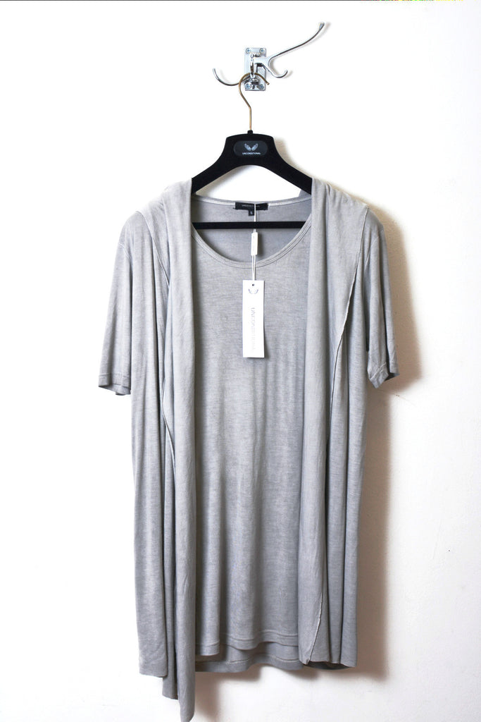UNCONDITIONAL Cloud Grey cold dye hooded ,drape waistcoat T-shirt