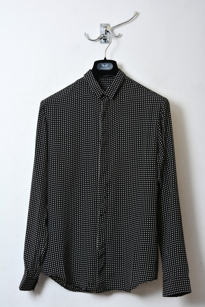 UNCONDITIONAL matt silk crepe black and off white polka dot long sleeved shirt.