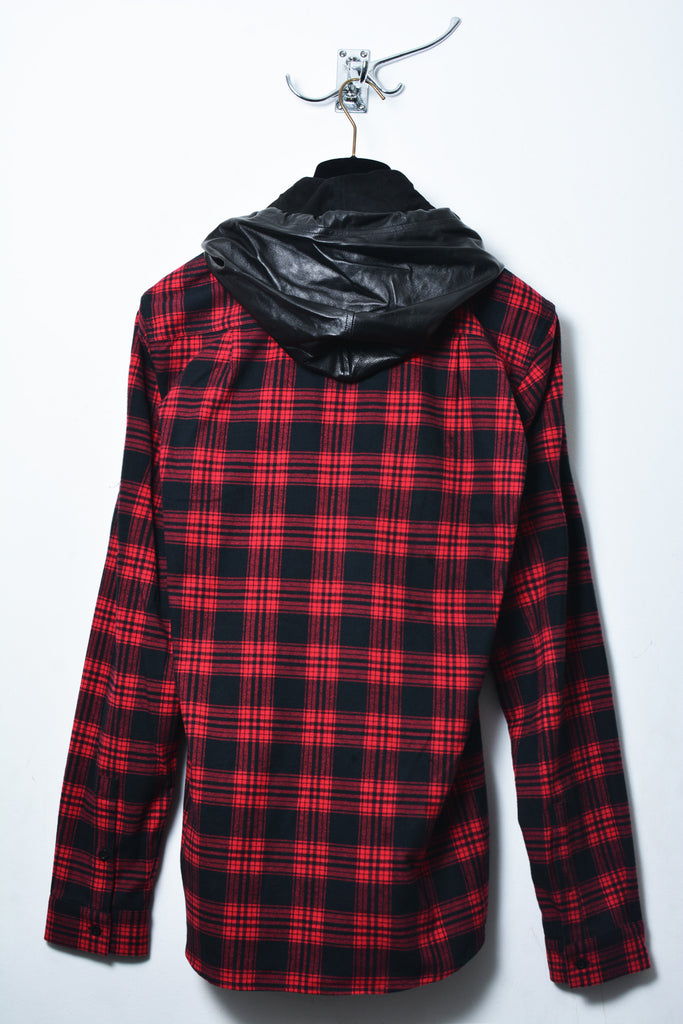 Red and black check jacket