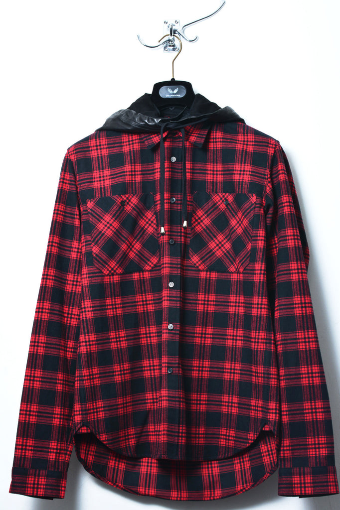 UNCONDITIONAL Black and Red check shirt with a detachable leather hood