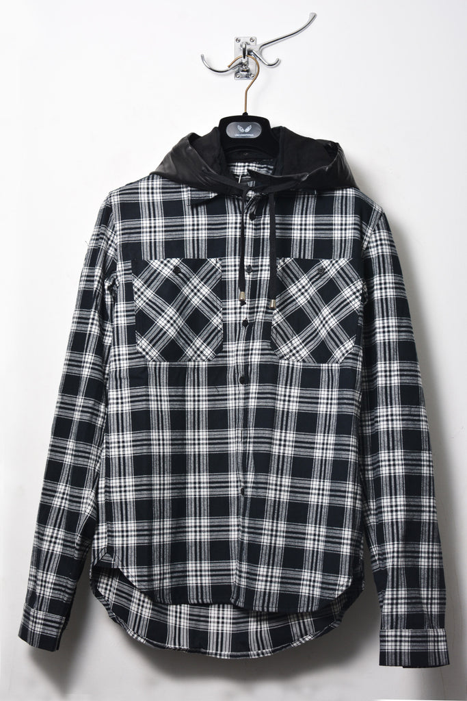 UNCONDITIONAL Black and white check shirt with a detachable lambs leather hood.