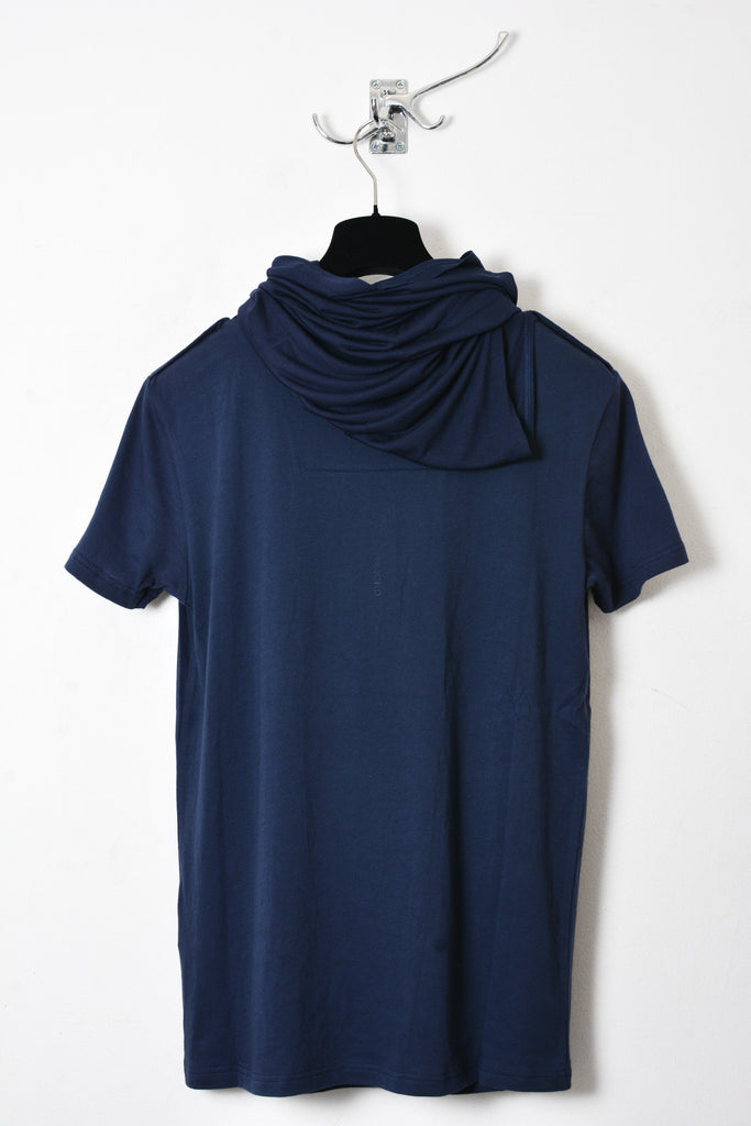 UNCONDITIONAL Petrol blue short sleeved funnel neck tee.