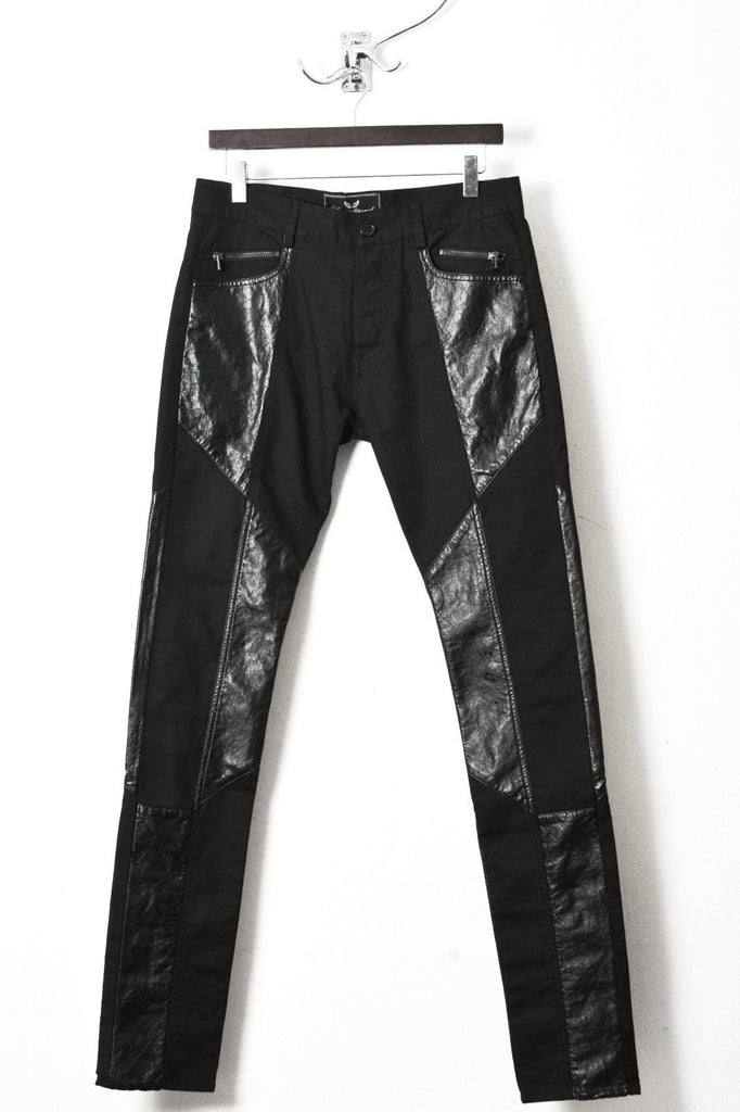 UNCONDITIONAL SS20 BLACK PATCH SLIM JEANS IN FAUX LEATHER AND DENIM