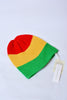 UNCONDITIONAL Red, gold and green merino hand knit Rasta beanie.
