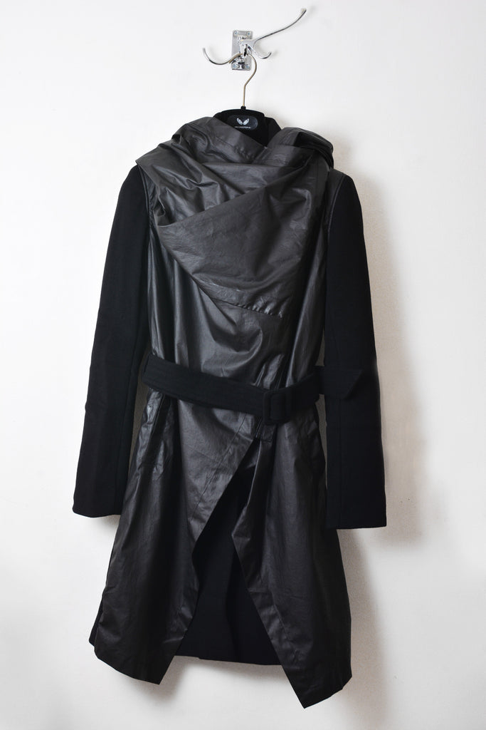 UNCONDITIONAL AW16 Signature Black double layered front drape hooded storm coat.