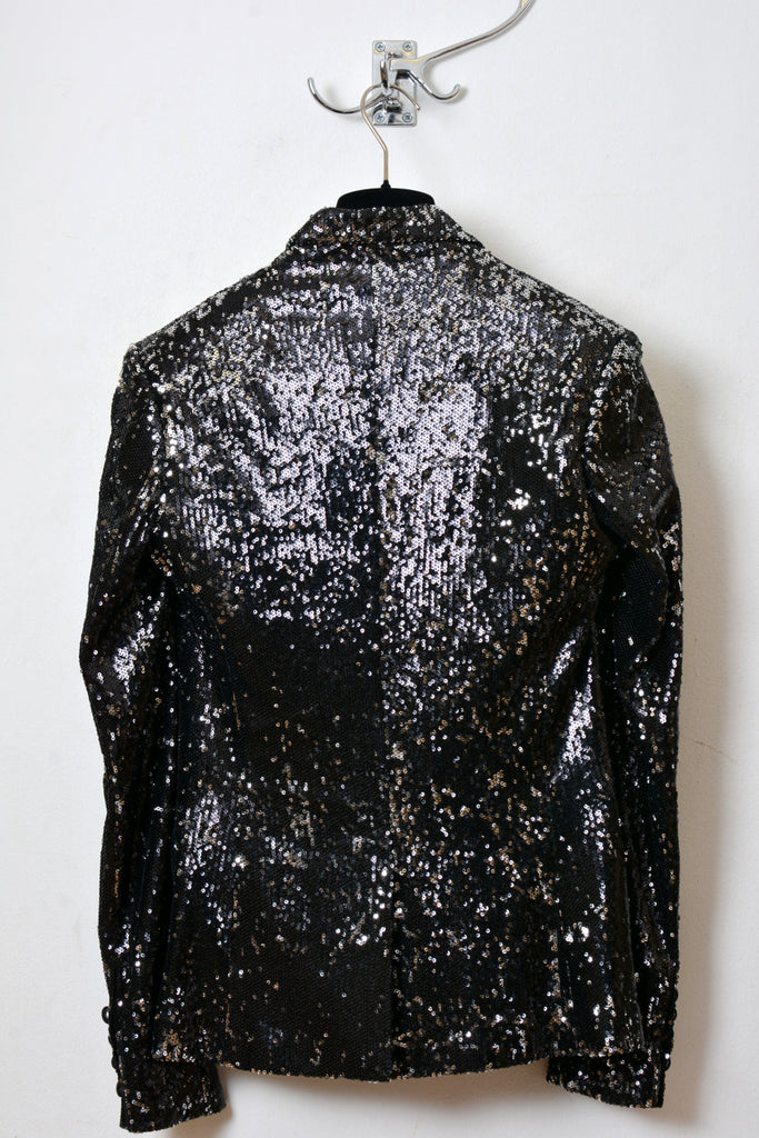 UNCONDITIONAL Ladies Black/Silver encrusted sequin one button jacket.