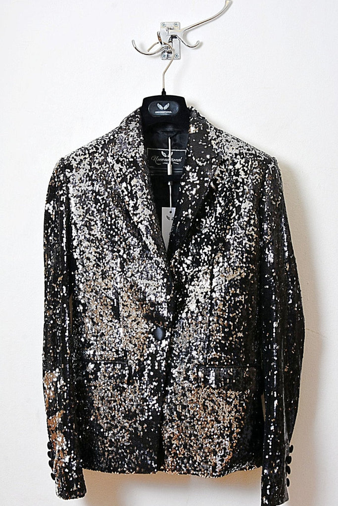 UNCONDITIONAL SS16 ladies black/silver combable sequin one button jacket.