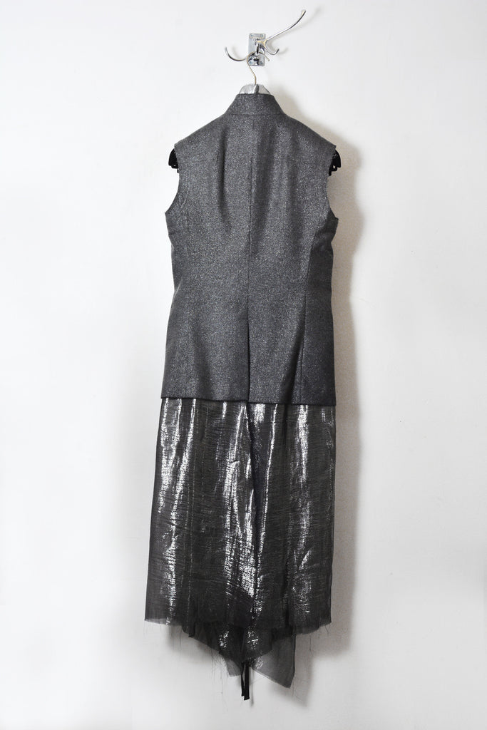 UNCONDITIONAL SS16 cold dyed sleeveless jacket with inner silver chiffon dress.