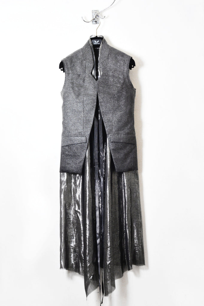 UNCONDITIONAL SS18 cold dyed sleeveless jacket with inner silver chiffon dress.