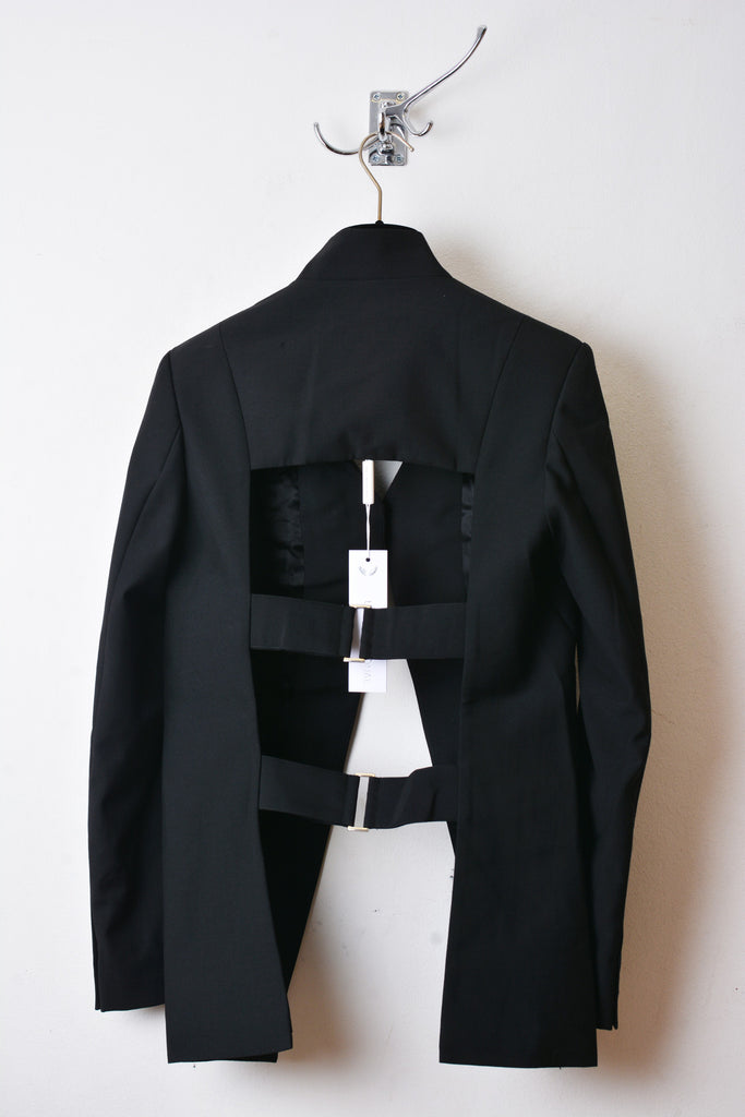 UNCONDITIONAL Black cutaway cage back jacket with shoulder straps