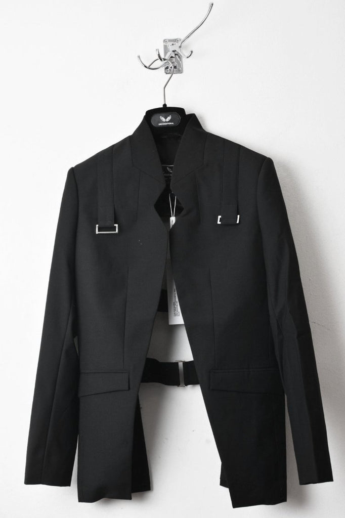 UNCONDITIONAL black with silver ring cutaway cage back tailored jacket.