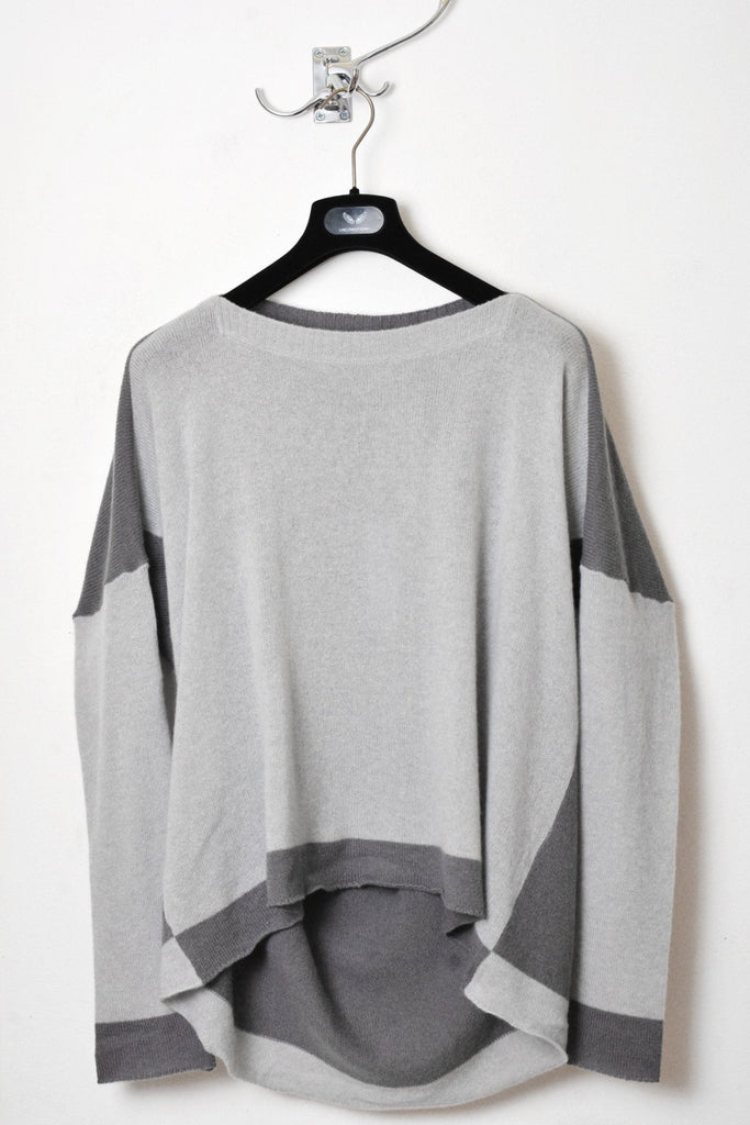 UNCONDITIONAL Cement and dark grey slash neck jumper with contrast border.