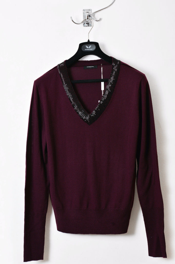 UNCONDITIONAL Signature Aubergine with Black  V neck jumper with silver bugle bead hand decoration.
