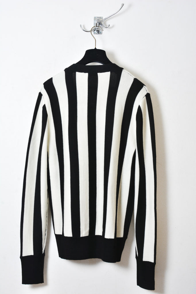 UNCONDITIONAL AW16 Black and off white vertical striped cardigan.