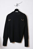 UNCONDITIONAL  Black crew neck jumper with shoulders straps and gold ring.