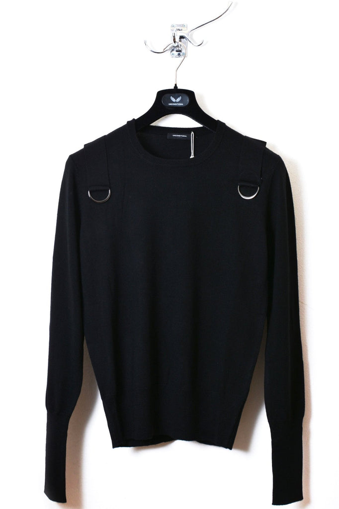UNCONDITIONAL Black merino crew neck sweater with shoulders straps & gun metal ring.