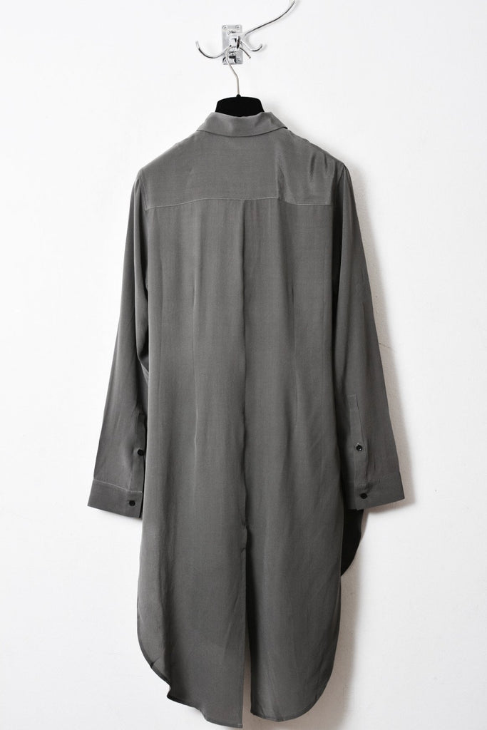 UNCONDITIONAL AW16 Silk crepe soft army long shirt dress with split tail.