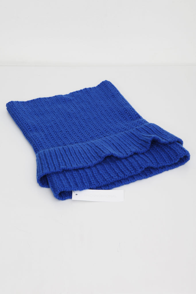 UNCONDITIONAL ELECTRIC BLUE CASHMERE HEAVY KNIT DOUBLE FUNNEL NECK
