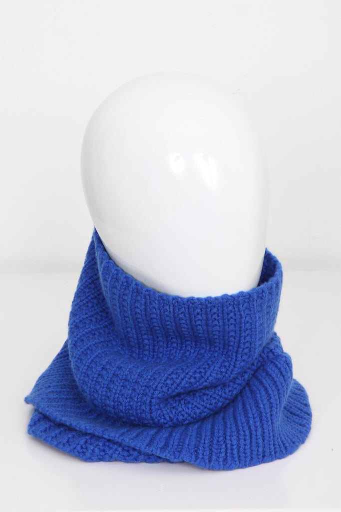 UNCONDITIONAL AW17 ELECTRIC BLUE CASHMERE HEAVY KNIT DOUBLE FUNNEL NEC