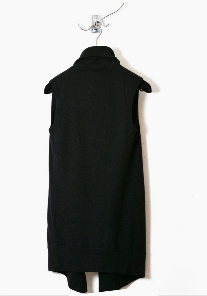 UNCONDITIONAL AW19 Black boiled merino draped front waistcoat.