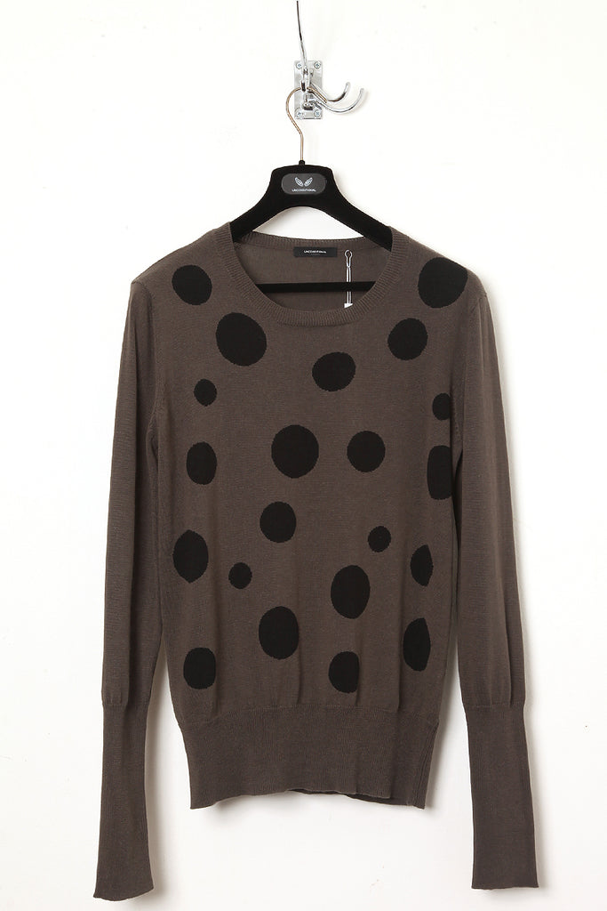 UNCONDITIONAL Army and Black crew neck sweater with black polka dots.