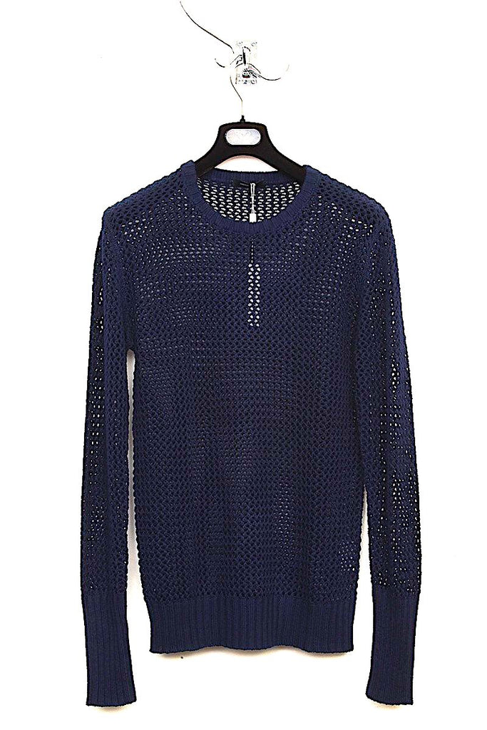 UNCONDITIONAL Dark Navy cotton mesh crew neck jumper.