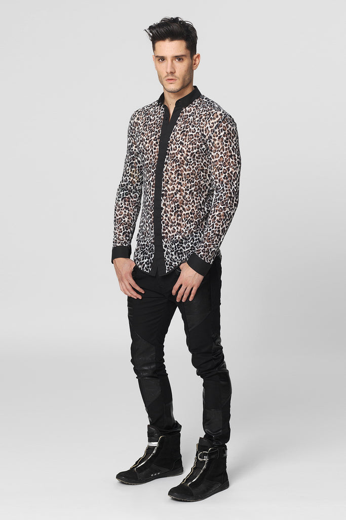 UNCONDITIONAL Leopard print cotton mesh shirt with black contrast detailing.