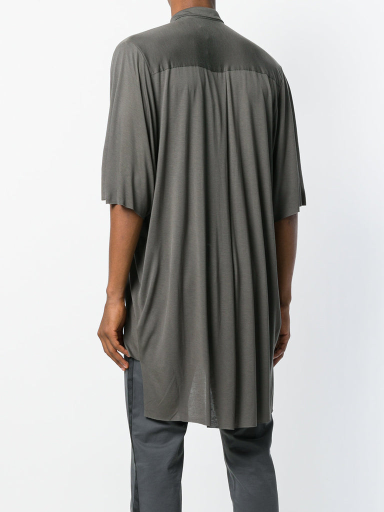 UNCONDITIONAL Tobacco slouchy tail back rayon shirt with oversized short sleeves