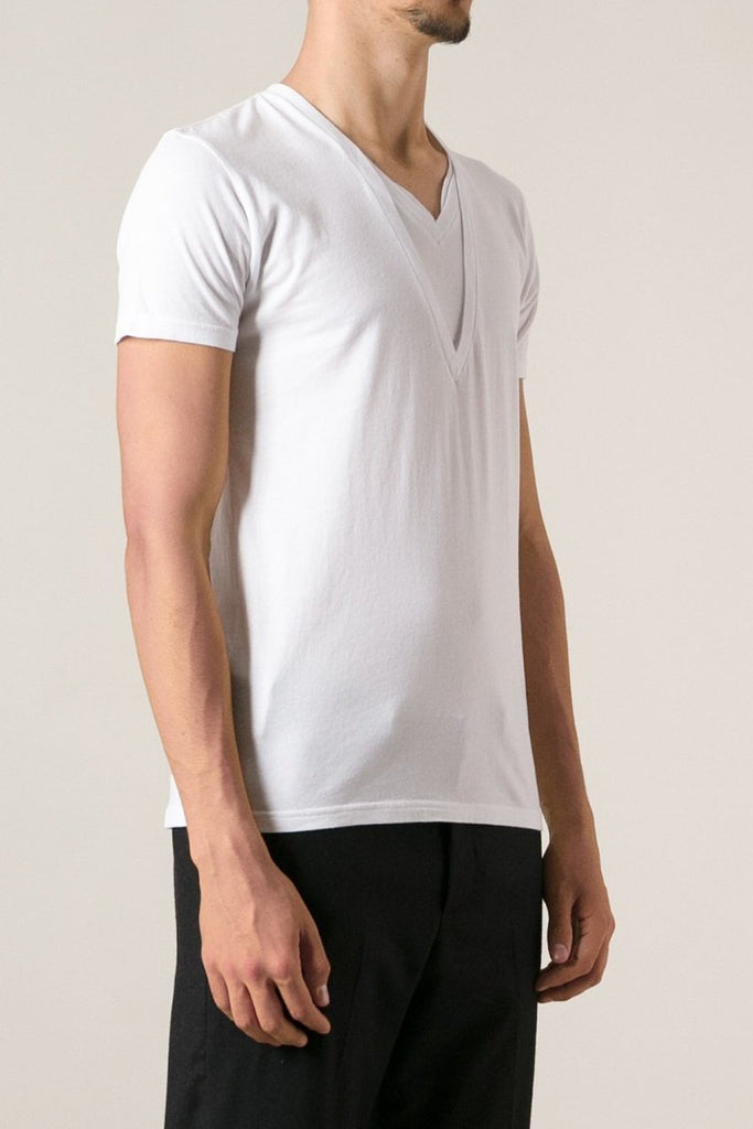 UNCONDITIONAL SS18 signature white double v-neck t-shirt with neck tabs.