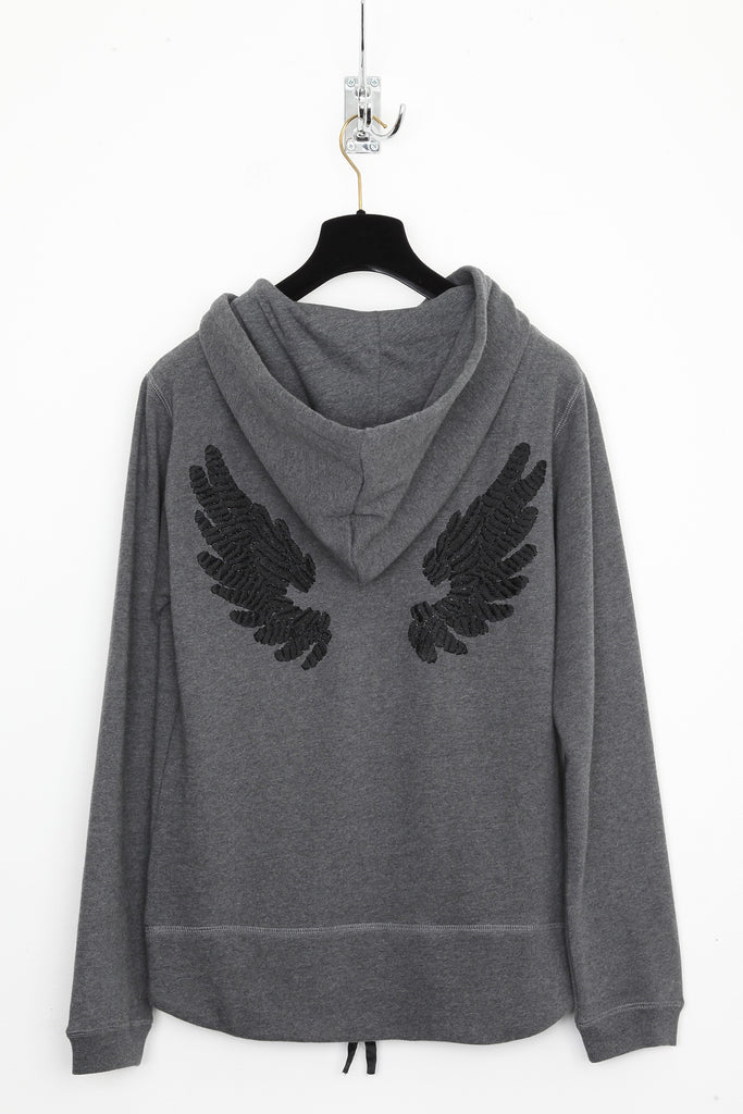 UNCONDITIONAL Dark Grey zip up hoodie with black hand embroidered signature wings