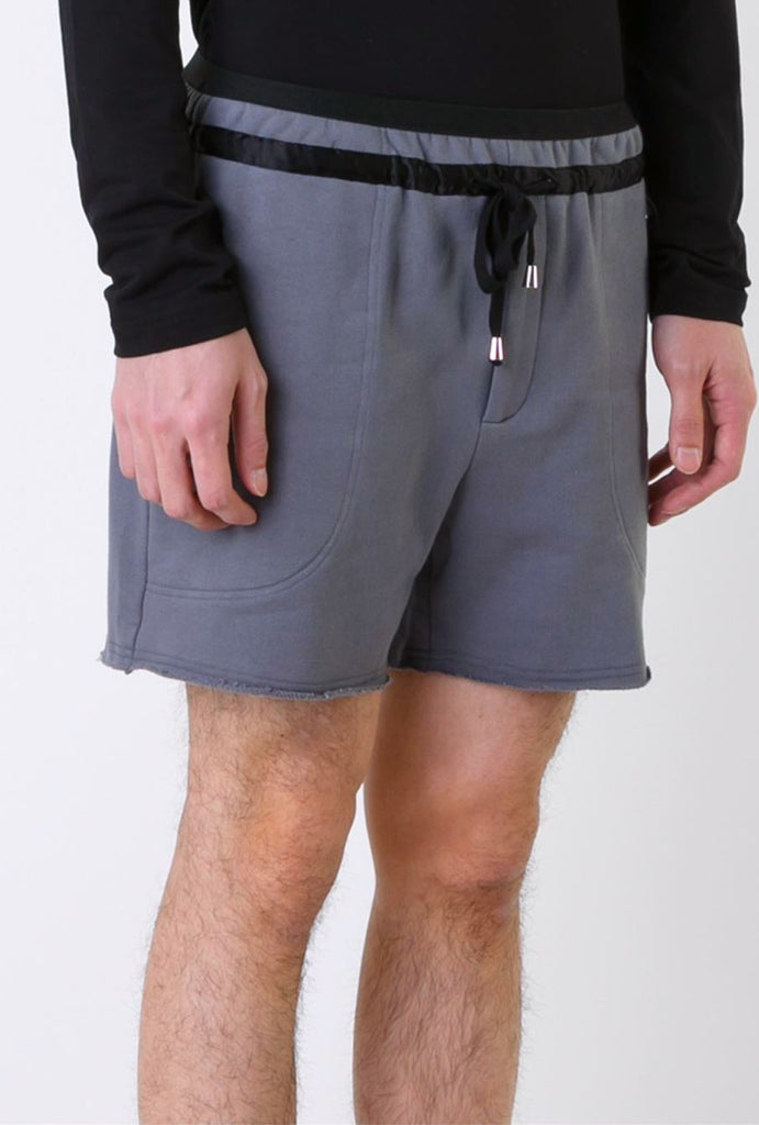 UNCONDITIONAL SS18 mouse grey sweat shirting shorts with elastic waistband.