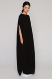 UNCONDITIONAL Black rayon long cocoon tunic dress.