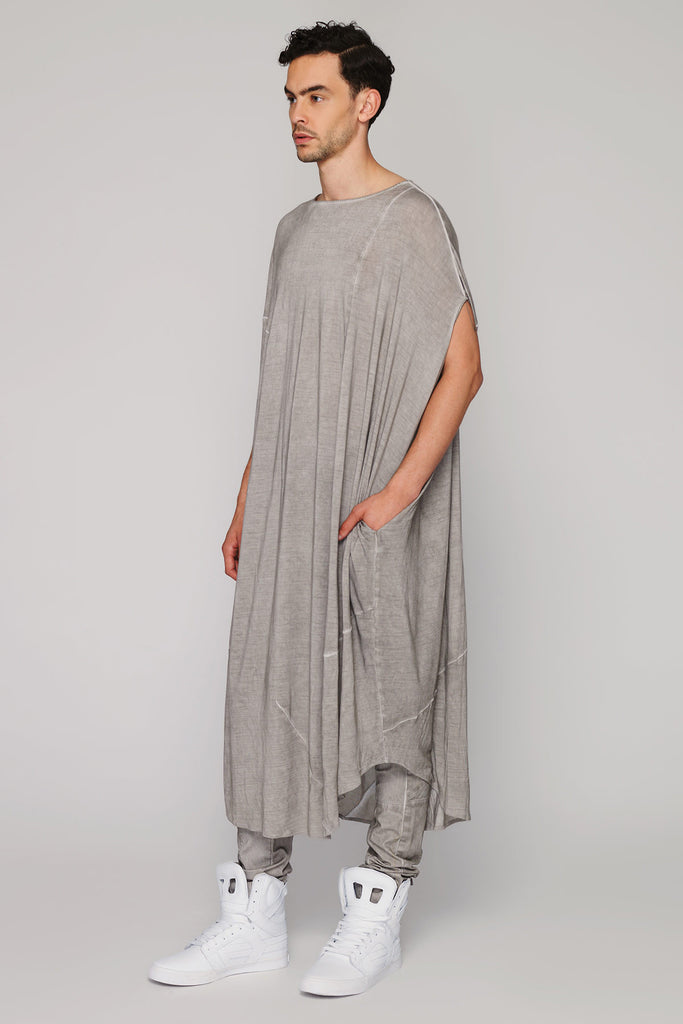 UNCONDITIONAL SS16 desert sand rayon long cocoon sleeveless tee
