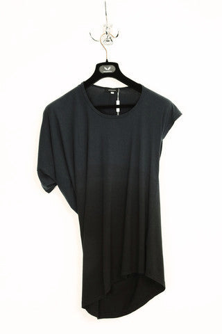 UNCONDITIONAL'S signature grey dip dyed fine jersey asymmetric drape T-shirt.